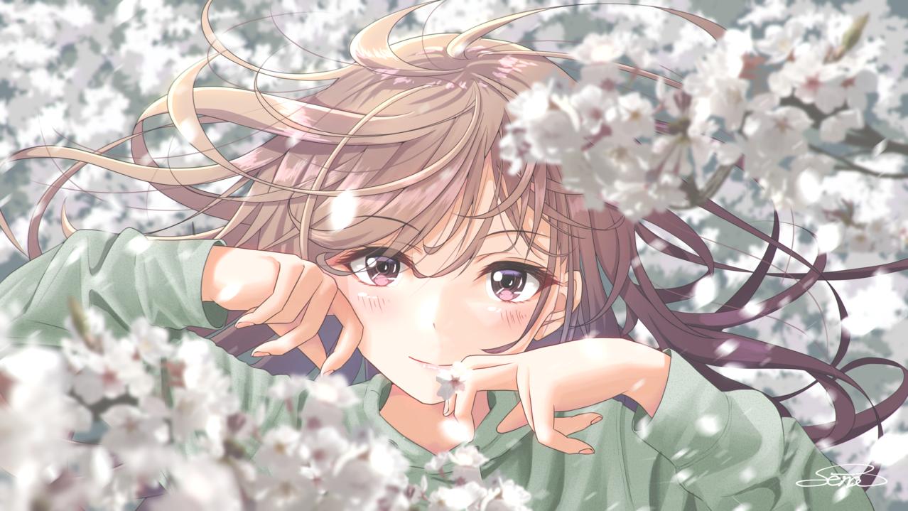 純潔 精神美 Illust of Sena April2021_Flower 春 girl flower original sakura hoodie