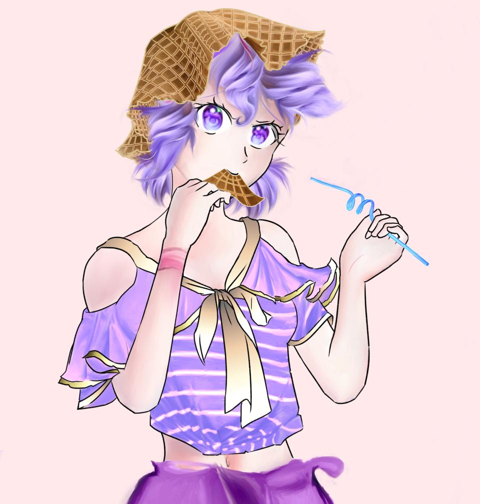 アイスクリームガール Illust of markioy May2021_Monochrome June2021_Anthropomorphism MasterpieceFanart September2021_Girl original girl food kawaii cute illustration purple oc