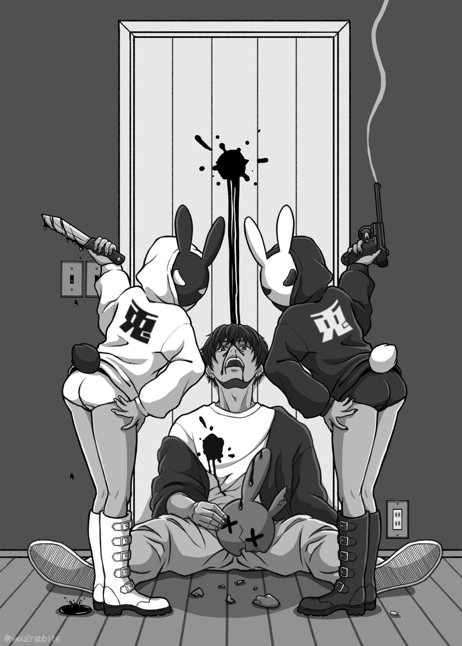 白黒つけろ! Illust of へぷうさ May2021_Monochrome モノクロイラスト rabbit original