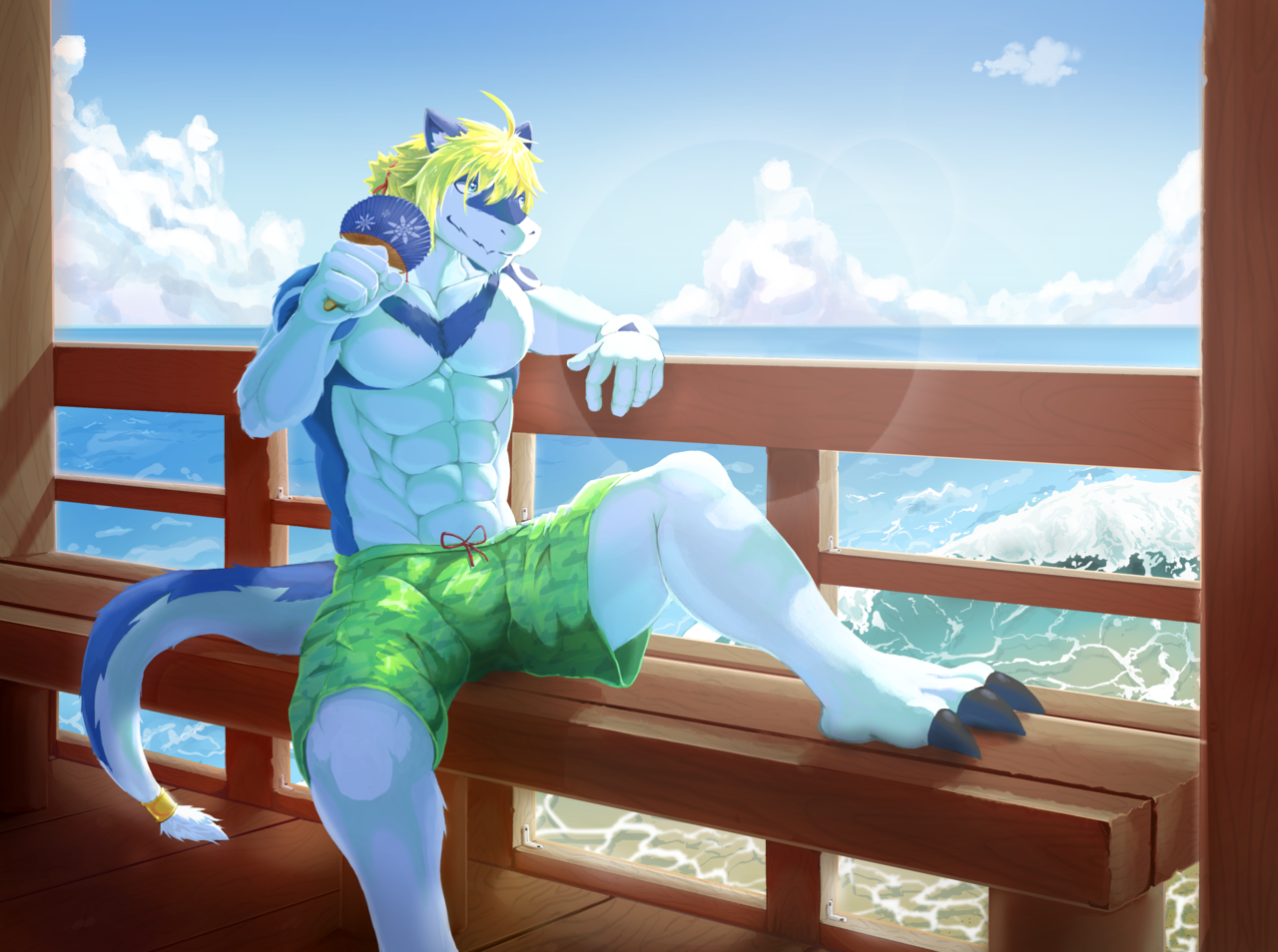 summer Illust of 阿蒼喔 September2020_Contest:Furry 獣人 dragon