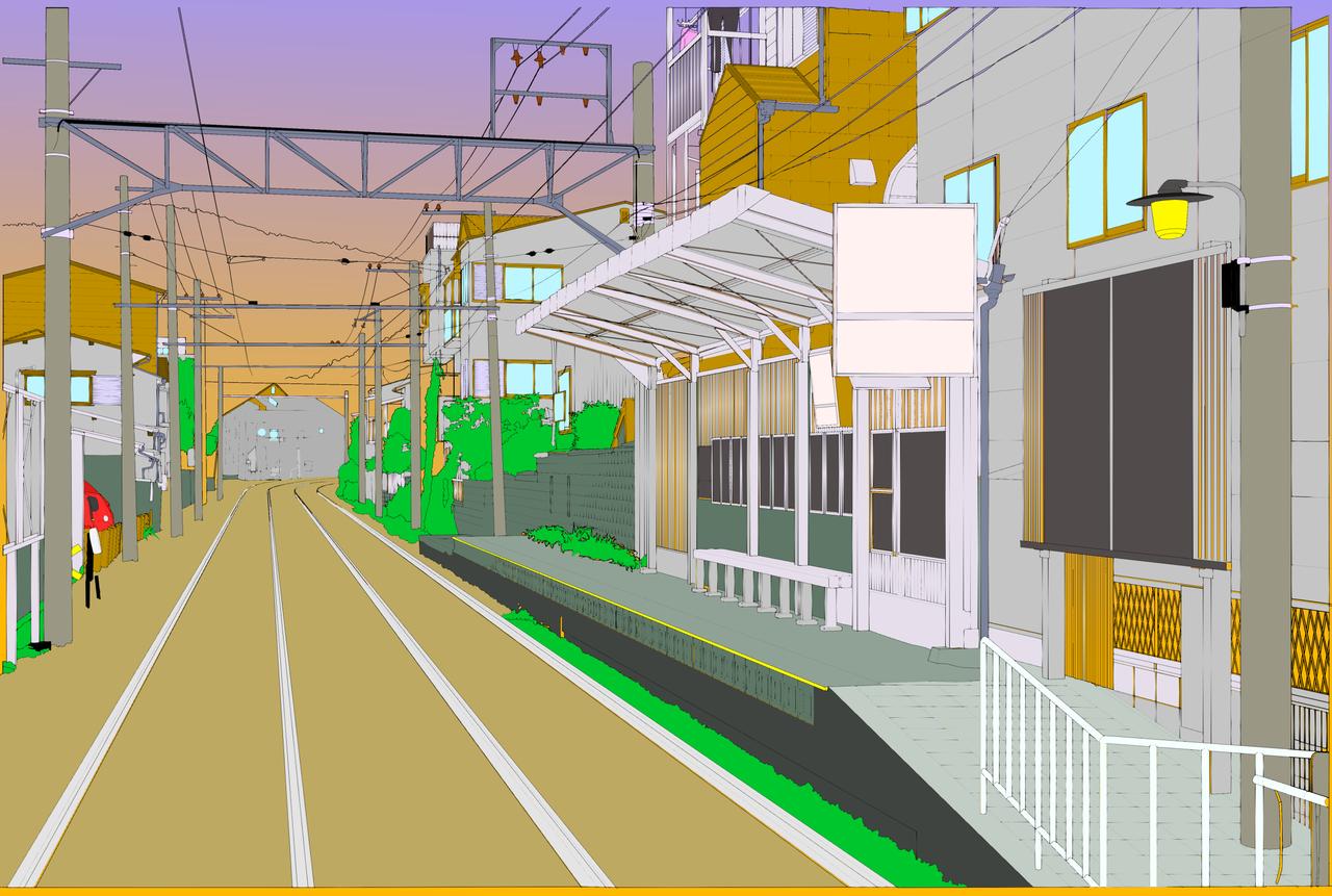 Railway Station Illust of Chlorophylll Background_Image_Contest BackgroundImageContest_Coloring_Division