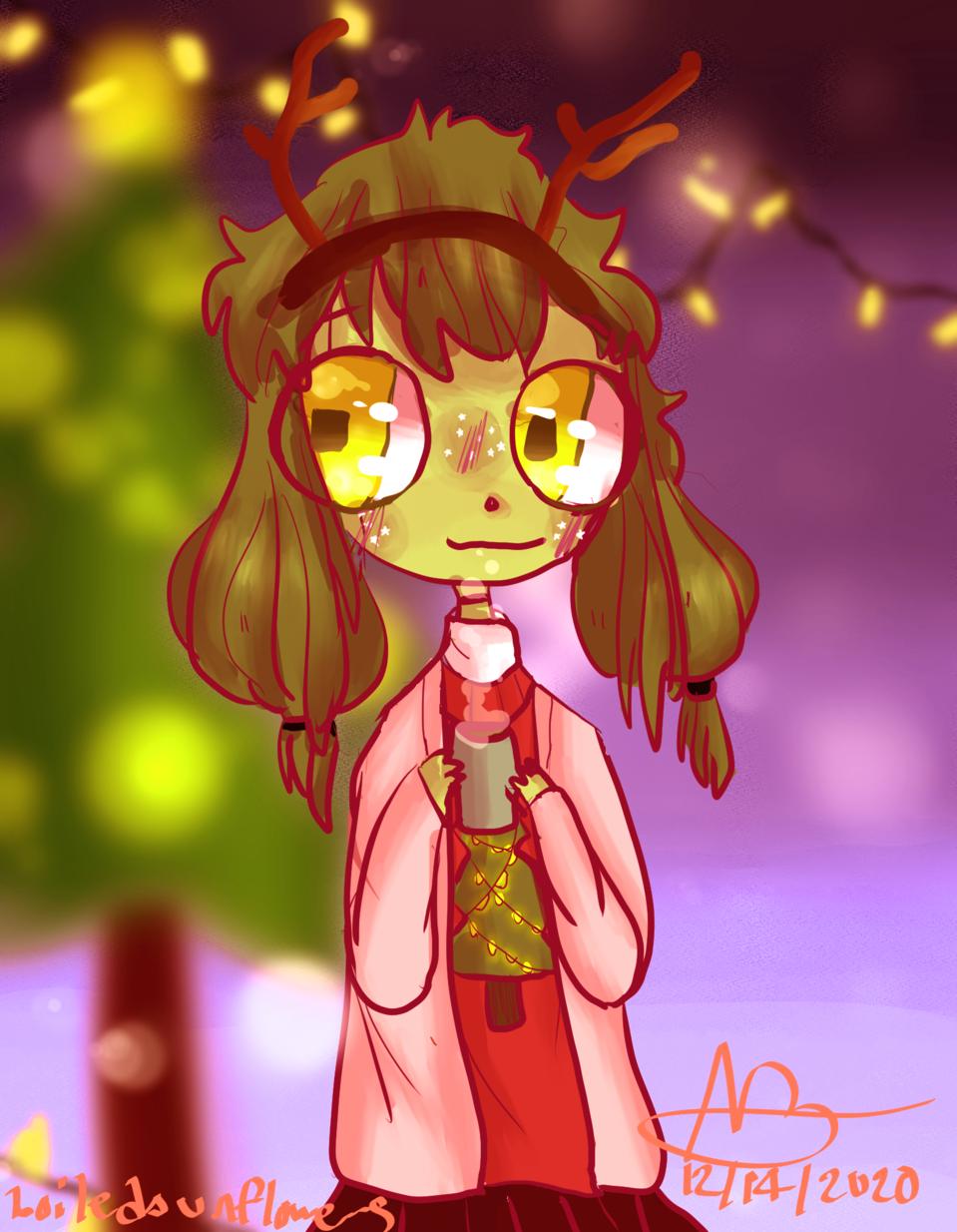 cherry says merry christmas :00 🎅 ❄️ 🎁 🦌 🎄⛄ Illust of boiledsunflowers art friend CLIPSTUDIOPAINT alien medibangpaint anime illustration characterdesign oc manga