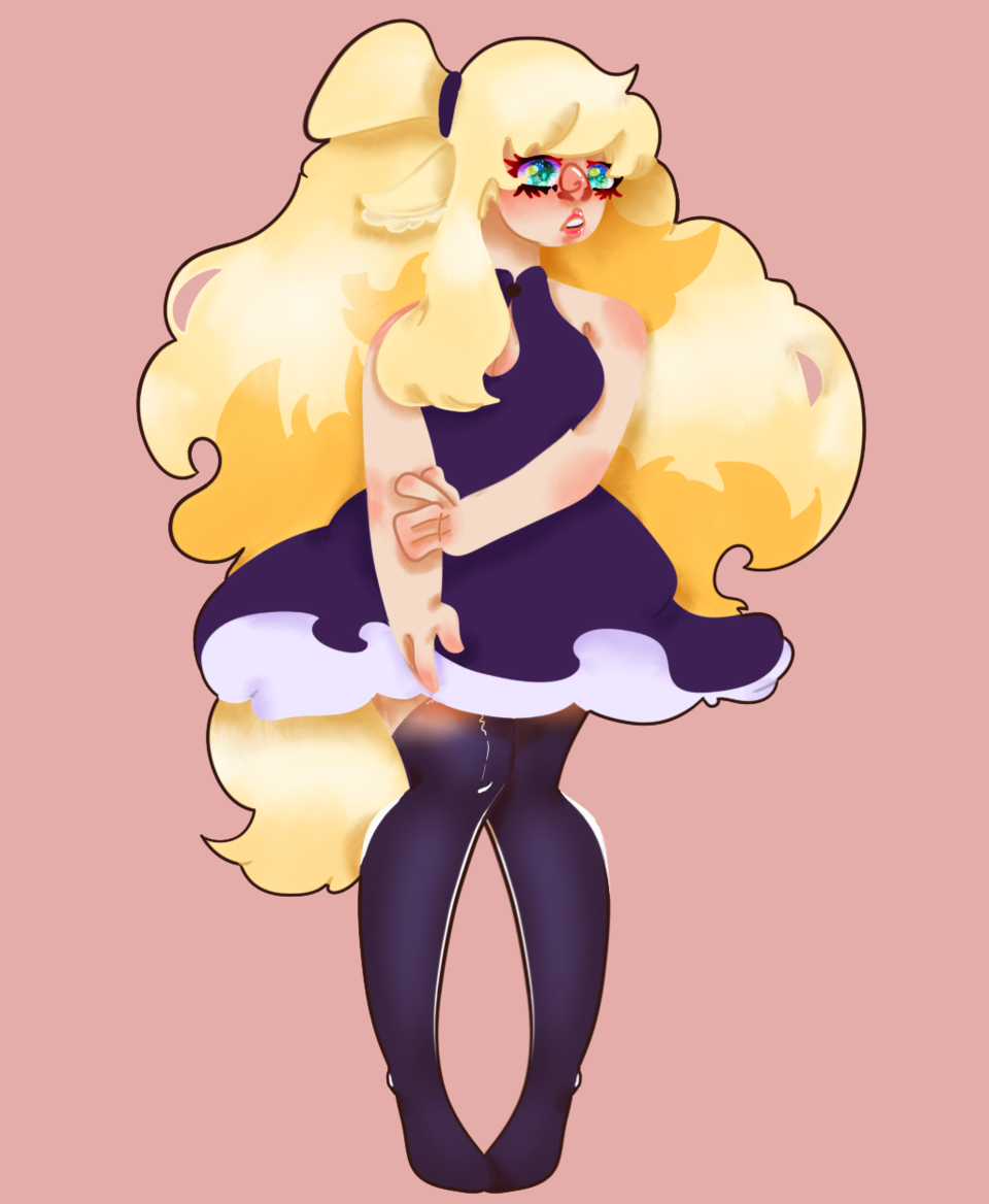 ~💕🍦crème glacée🍦💖~ Illust of ~✨🍄🌱𝓣𝓪𝓶𝓪𝓰𝓸🌱🍄✨~ character Kenny ice-cream lineless oc cute pink hair dress blonde