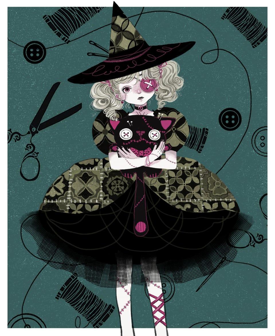 Voodoo Witch Illust of Charmaine Lee January2021_Contest:OC illustration witch Voodoo witches 巫女 帽子 voodoodoll illustrations