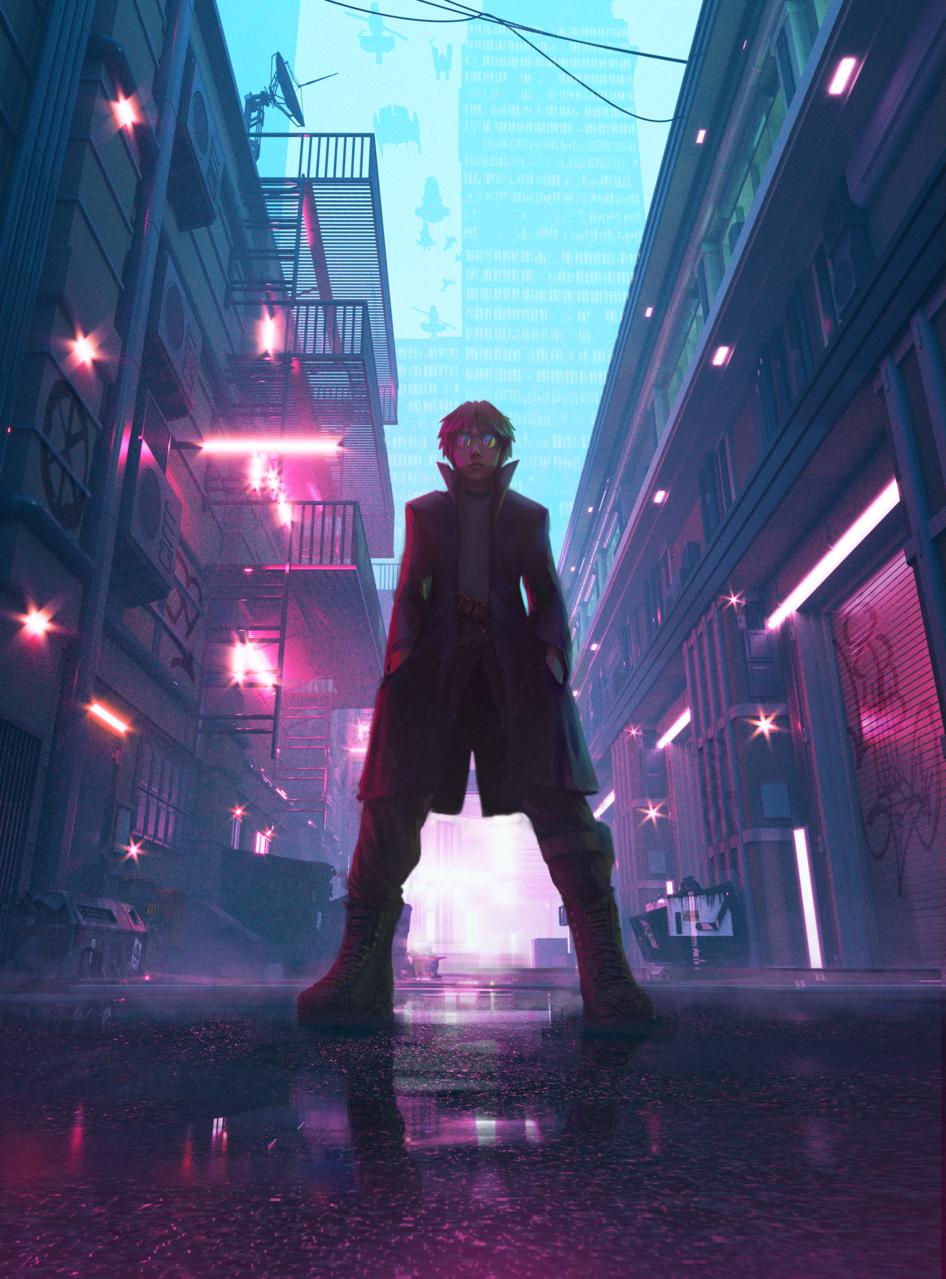 Original Character Illust of Nome January2021_Contest:OC red anime magenta cyberpunk black slums dark fog smoke realistic