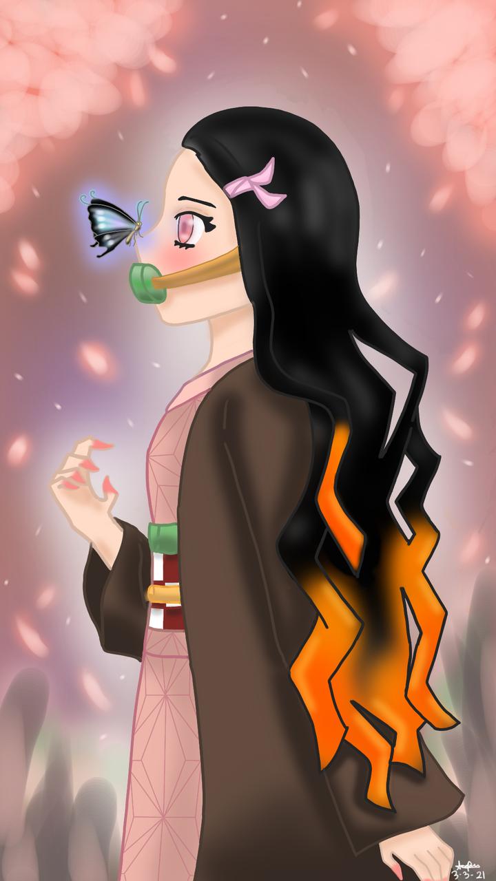 Nezuko-chan!!! Illust of DreyV March2021_Creature cute fanart KimetsunoYaiba glow digital anime KamadoNezuko petals butterfly