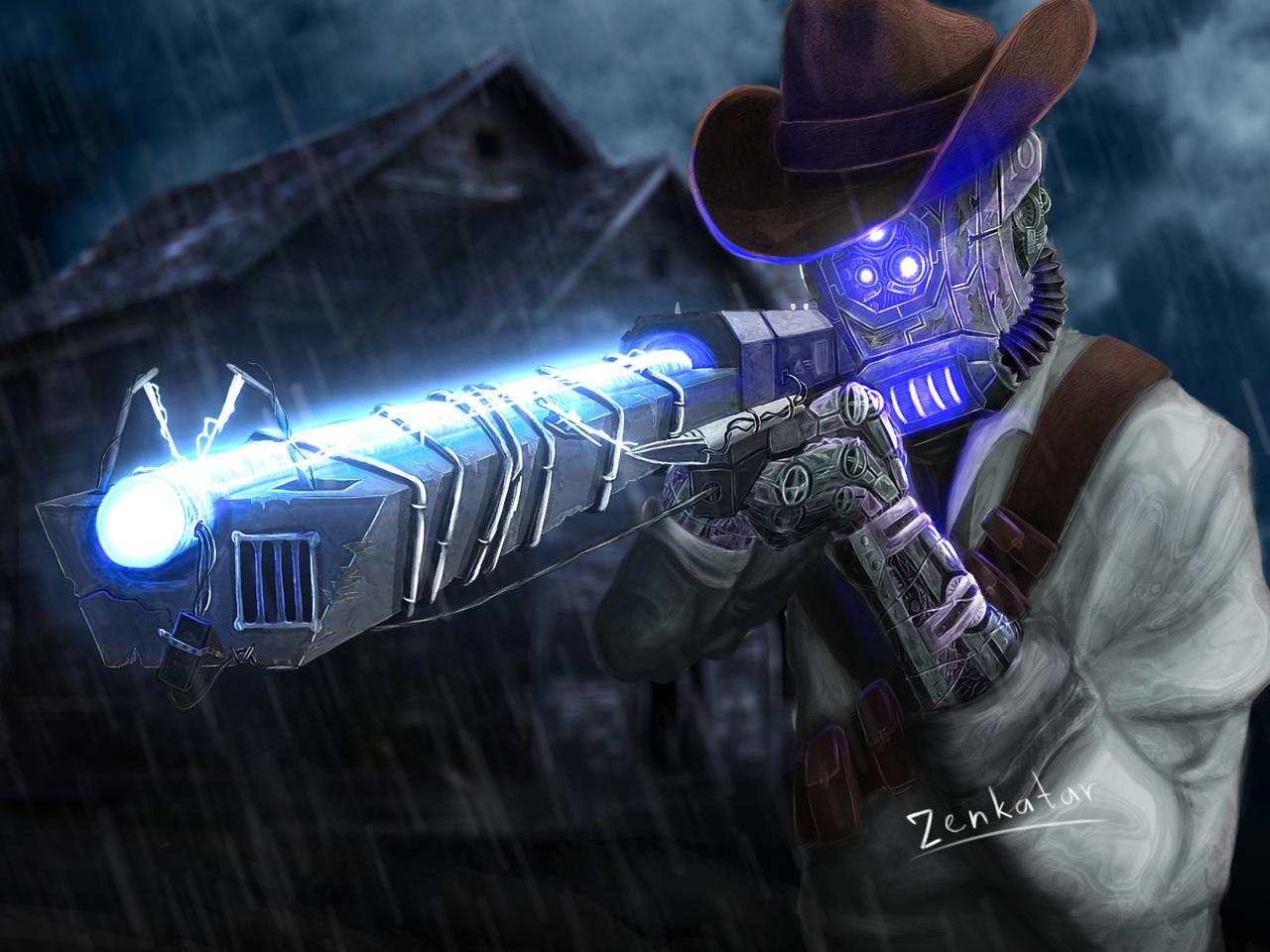 Read first comment Illust of ℤ𝕖𝕟𝕜𝕒𝕥𝕒𝕣 medibangpaint art cyborg cyberpunk rain steampunk thunder robot