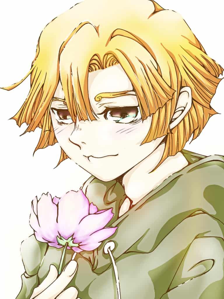 禰豆子ちゃんにこの花をあげよう…と考えている善逸 Illust of 神嘗 歪 AgatsumaZenitsu flower キメツ学園 KimetsunoYaiba