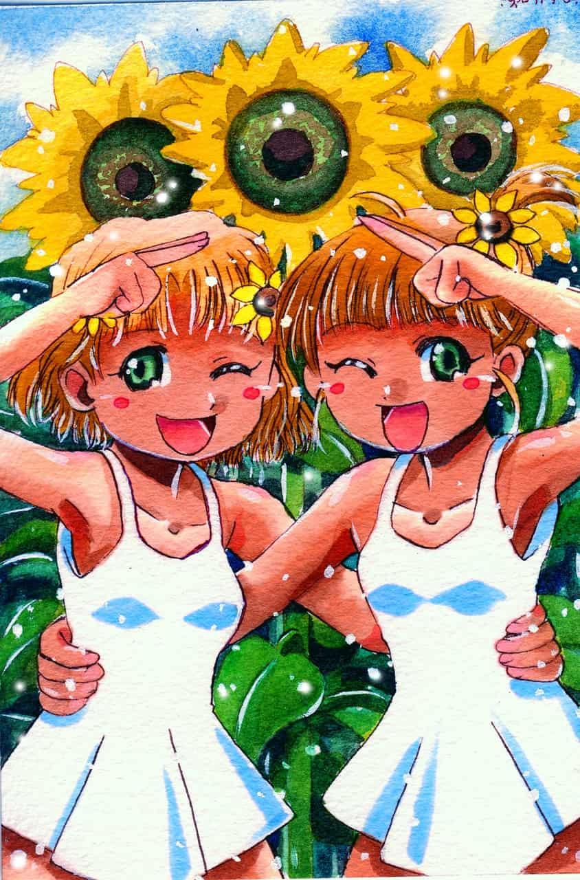 ひまわり姉妹 Illust of おち☆よしかず(Occhiiy:オッチー☆) 日焼け iPad_raffle 双子 ワンピース服 ひまわり original summer アナログの本気 オリジナルキャラクター女の子 姉妹