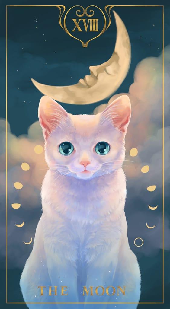 THE MOON Illust of 砂虫隼 cat タロット original 生き物 animal キラキラ moon