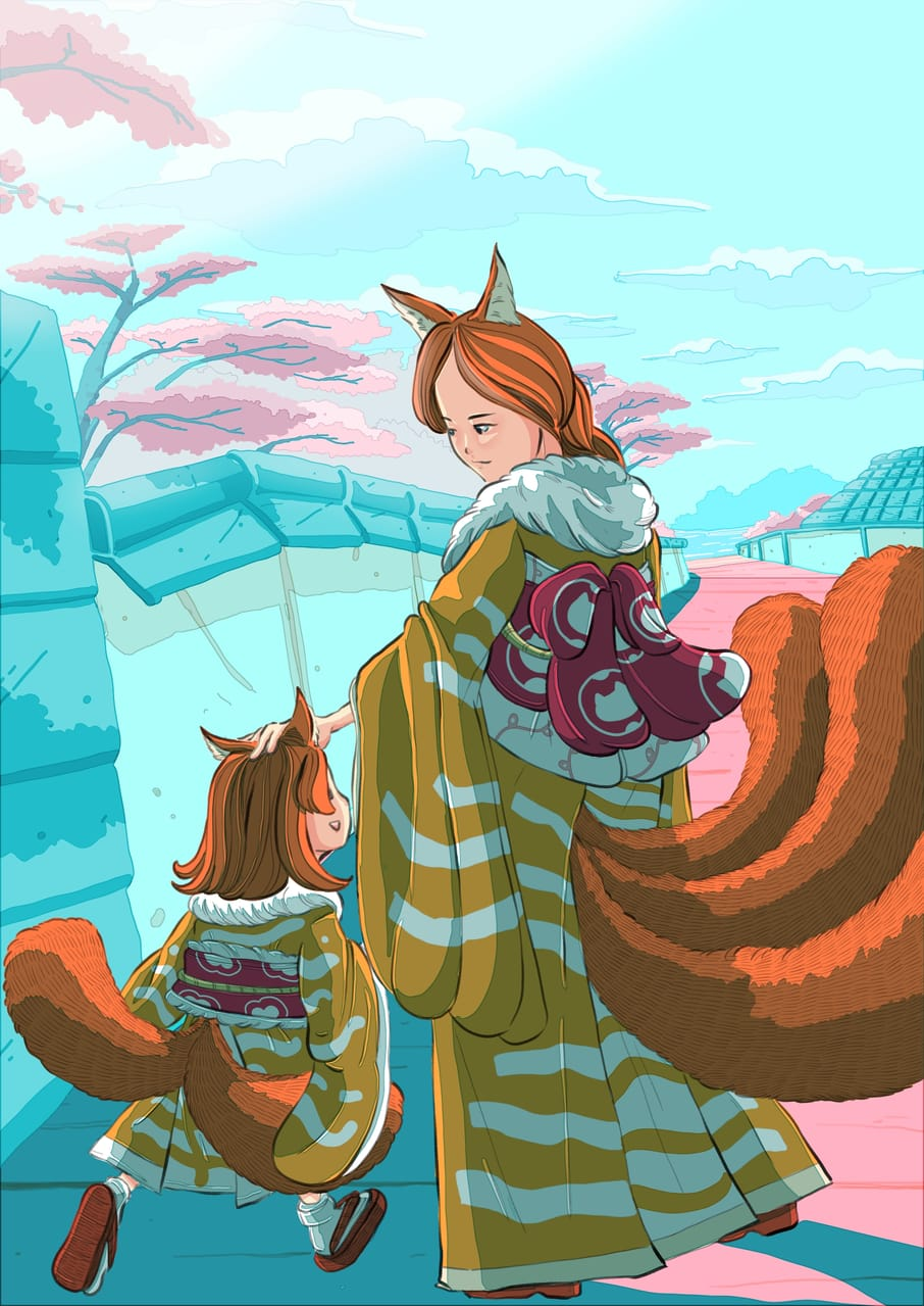 Nekomata hime when she was young with her mom. Illust of Wutikai March2021_Creature April2021_Flower cat_ears cat scenery Japanese_style oc kimono youkai monster cute girl