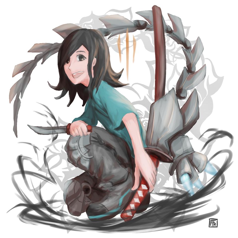 Illust of Irhas Mafaza mecha drawing katana illustration