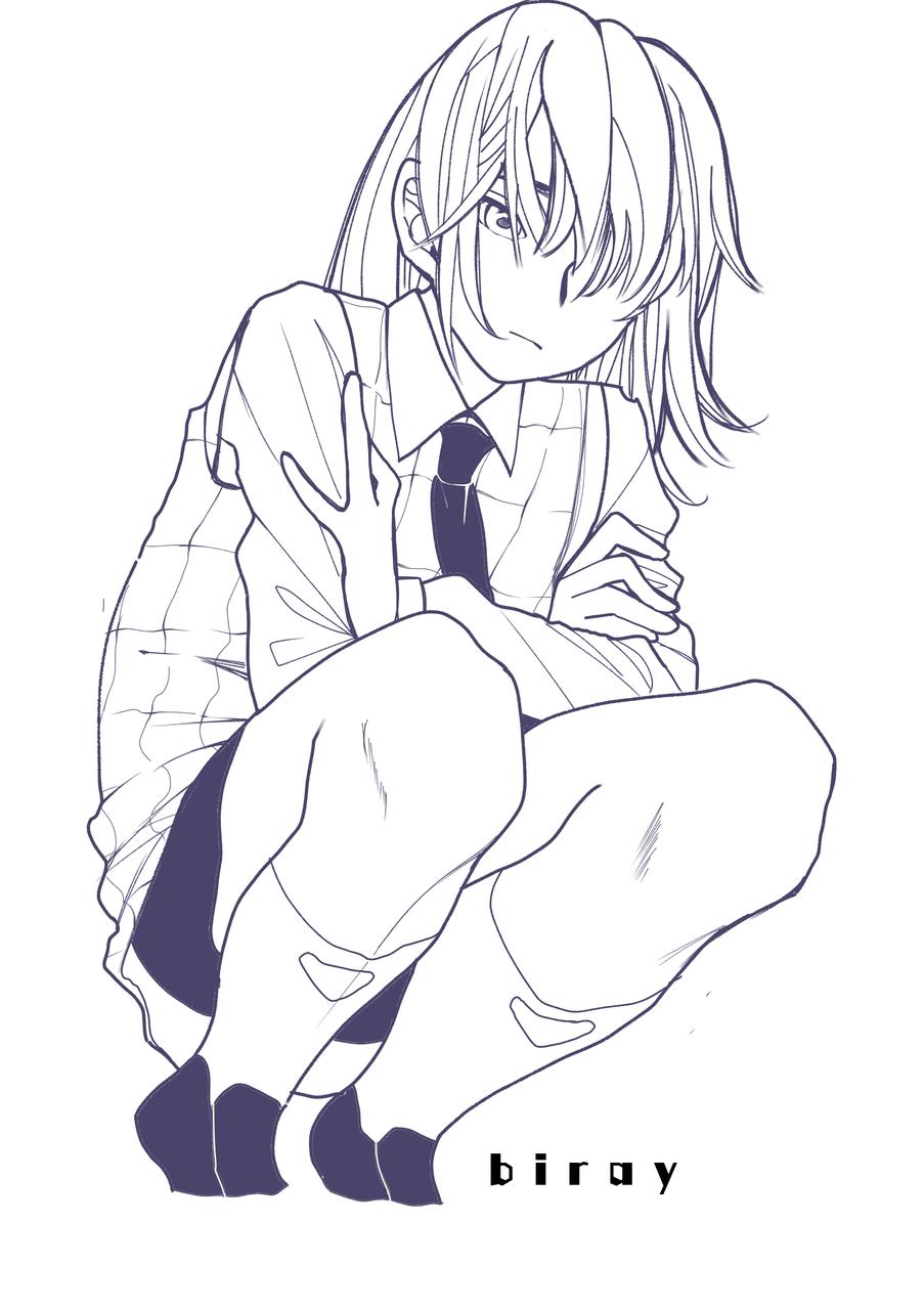 Illust of biray medibangpaint illustration girl sad uniform Genderbend trap