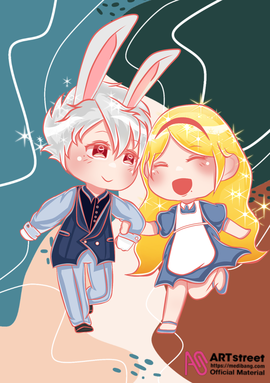 Alice and the White Rabbit Illust of Missleil tracedrawing2 chibi rabbit bestfriends medibangpaint anime Trace&Draw【Official】 AliceinWonderland