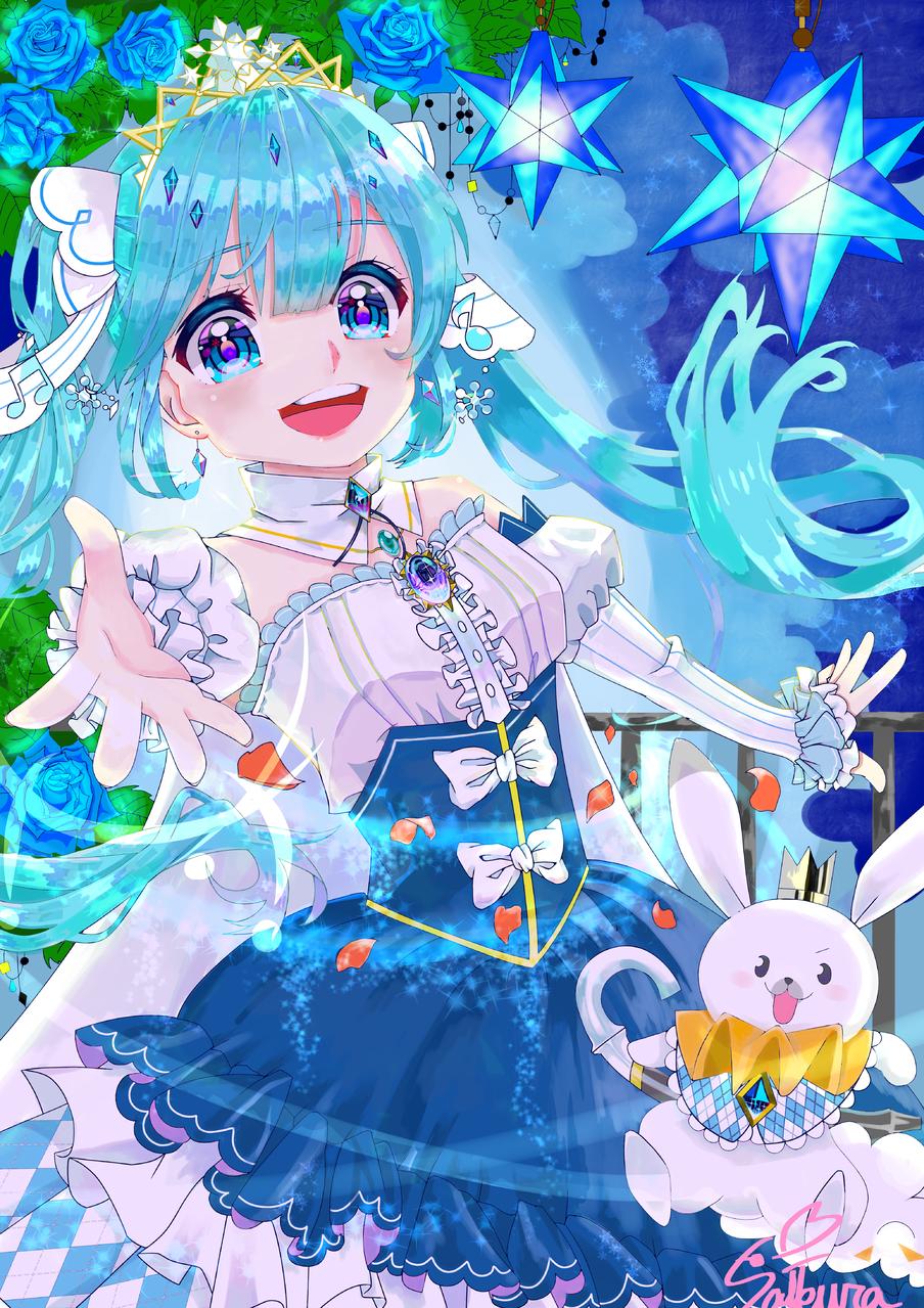 ❅SNOW MIKU 2019❅ Illust of グラサンうさぎ medibangpaint VOCALOID girl 雪ミク rose hatsunemiku