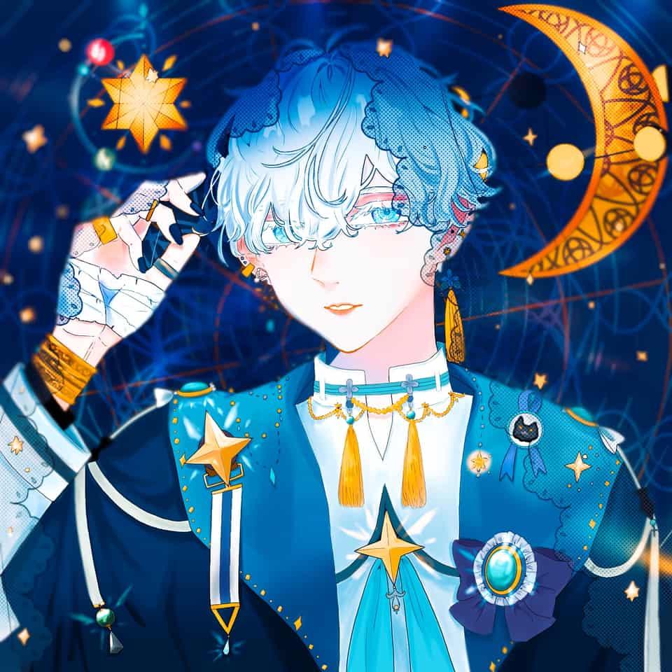 きらきら Illust of うり digital blue star boy original white_hair キラキラ