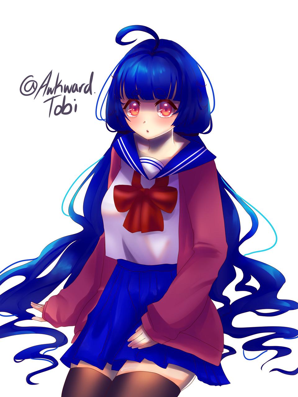 She's sitting Illust of AwkwardTobi kawaii illustration Artwork anime