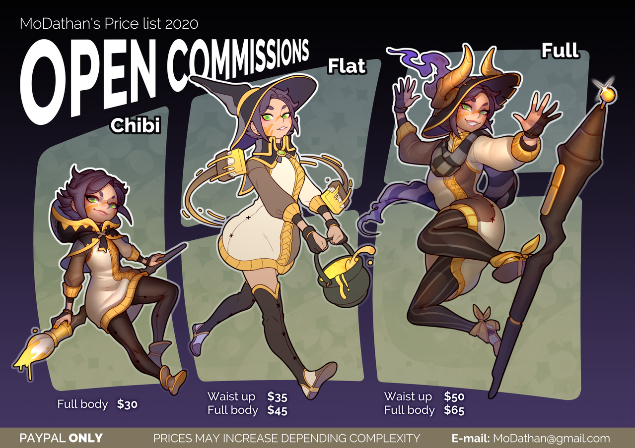 Open Commissions 2020 Illust of MoDathan fantasy magic witch kawaii oc original Halloween commission chibi