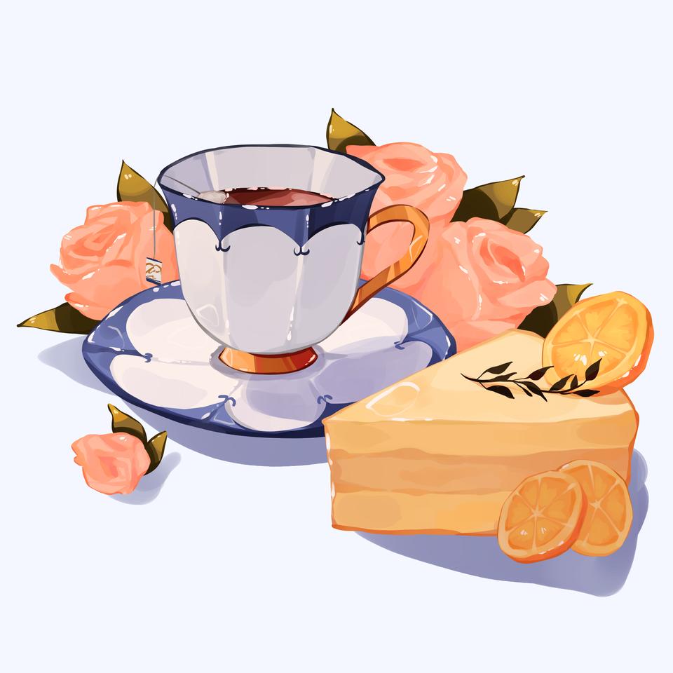 Lemon cake and Earl Grey Tea Illust of Mumechi cute drawing food illustration iPad_raffle