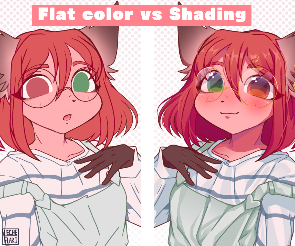 Flat Color vs Shading [OC] Illust of LecheFlari cute furry furry digital art oc