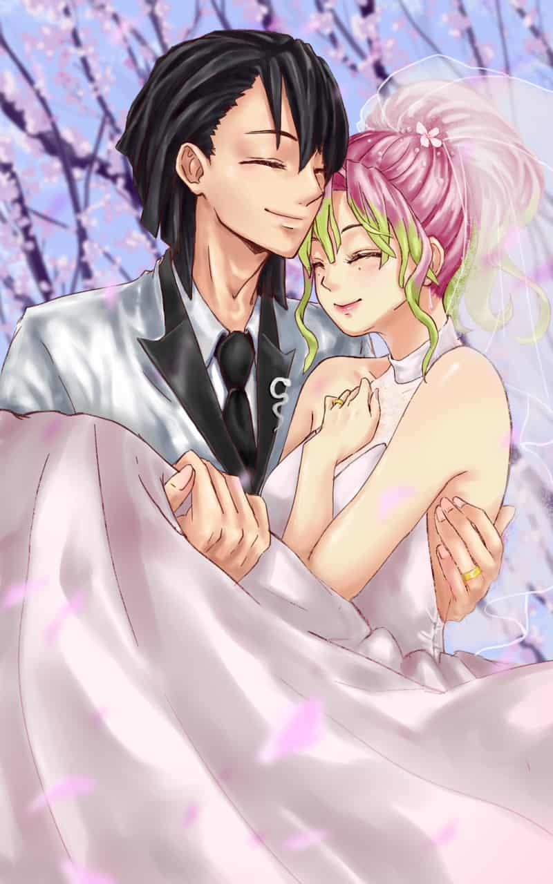 Obanai and Mitsuri Wedding AU Illust of criselda_ato DemonSlayerFanartContest KanrojiMitsuri KimetsunoYaiba おばみつ IguroObanai