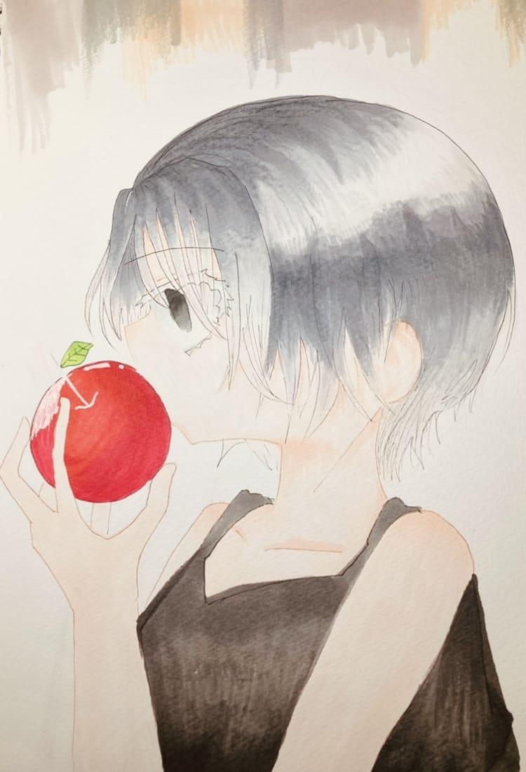 リンゴの誘惑 Illust of ラヴィ#アナログ同盟 Copic girl apple アナログ AnalogDrawing