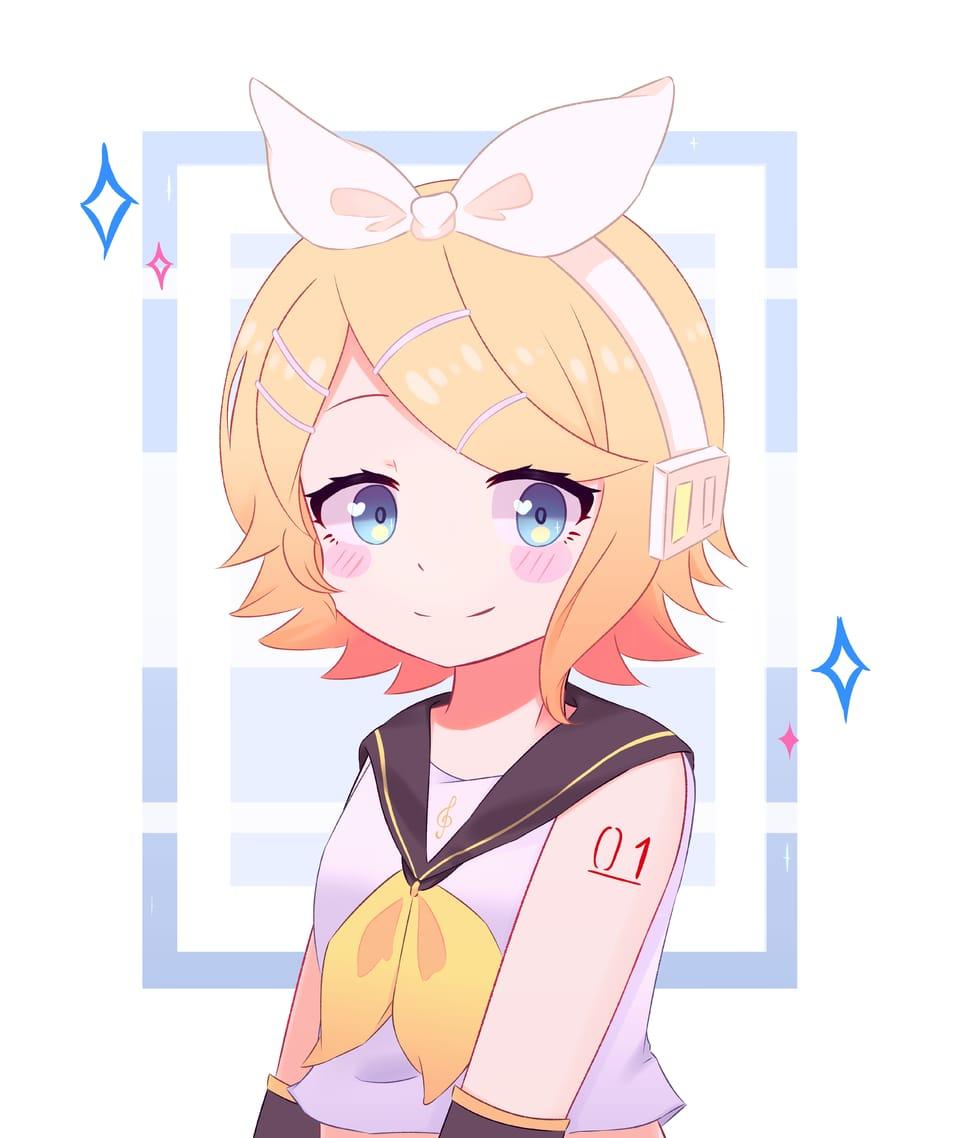 Rin - fanart Illust of Haruka Art VOCALOID Rin fanart kawaii cute pink Kagamine_Rin pastel yellow anime