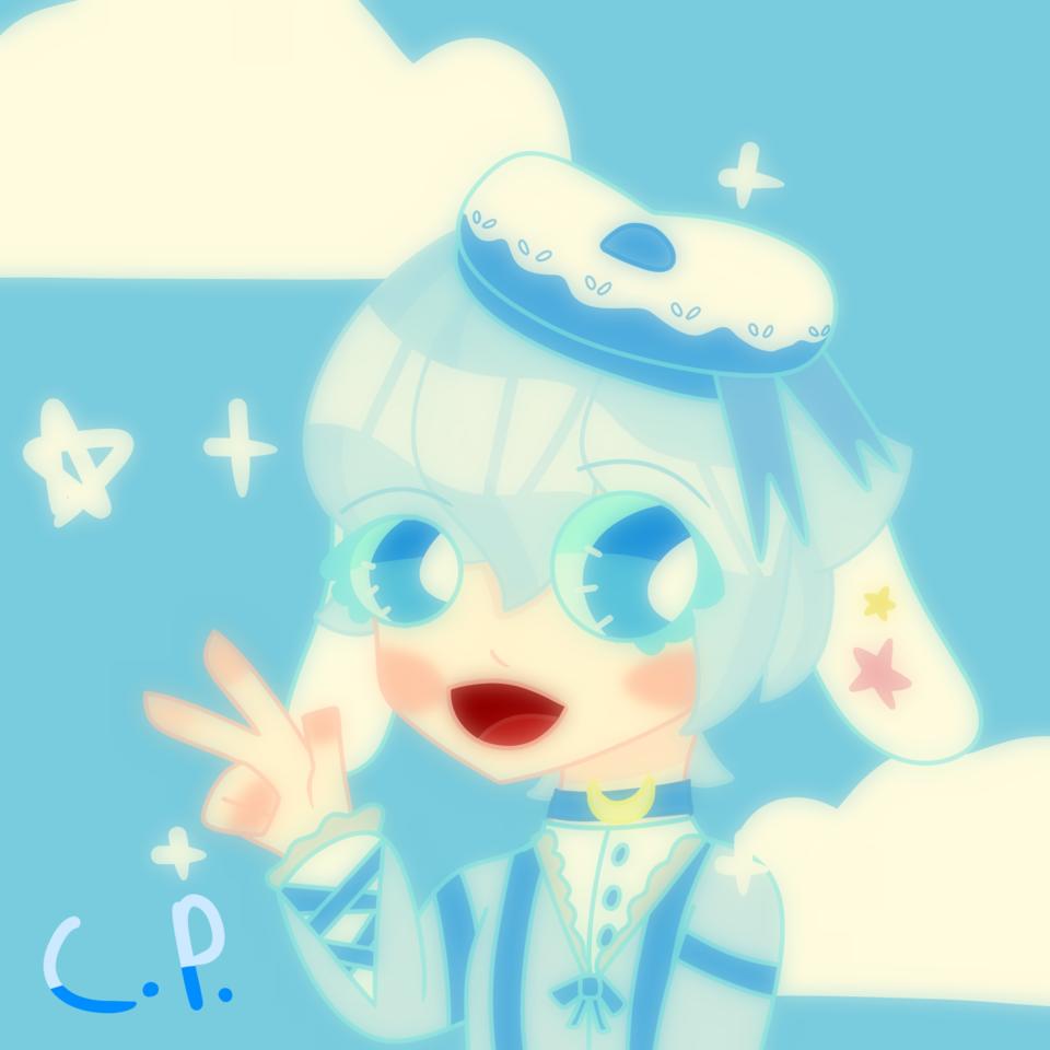 Cinnamoroll!! Illust of Creampuffu ☹ै cute animal aesthetic pastel medibangpaint blue Sparkly bluehair digital