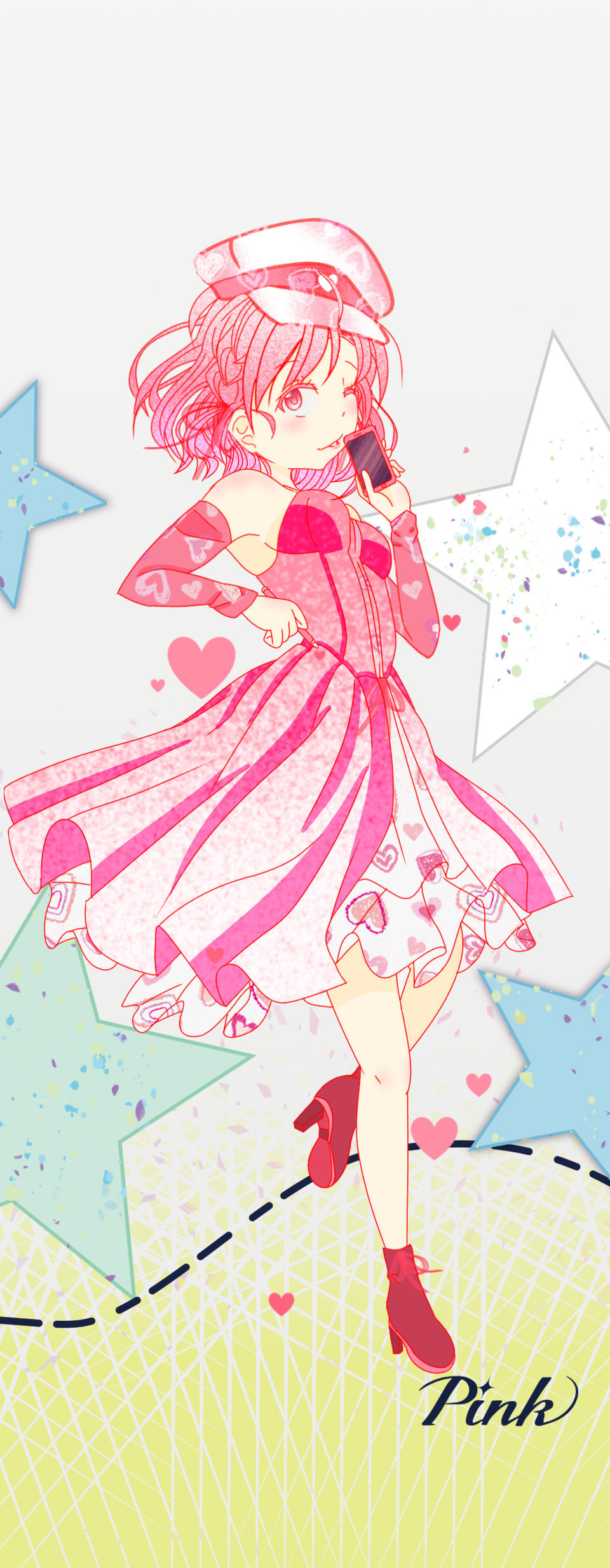 Pink pastel Illust of Akira Luca PASTEL_SKETCH