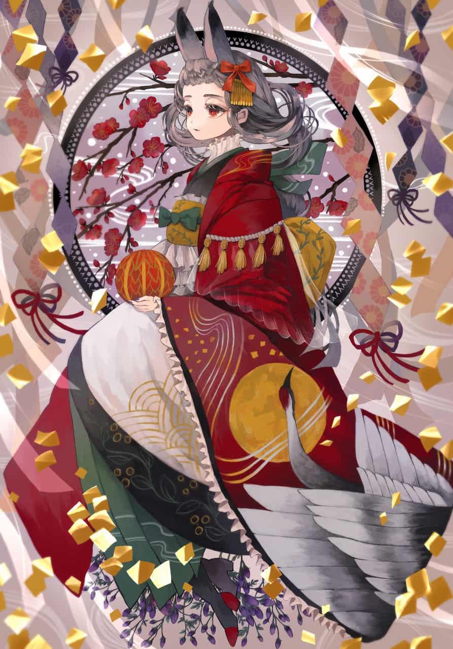 花笑みと月夜の着物 Illust of あり Kyoto_Award2020_illustration original kimono girl