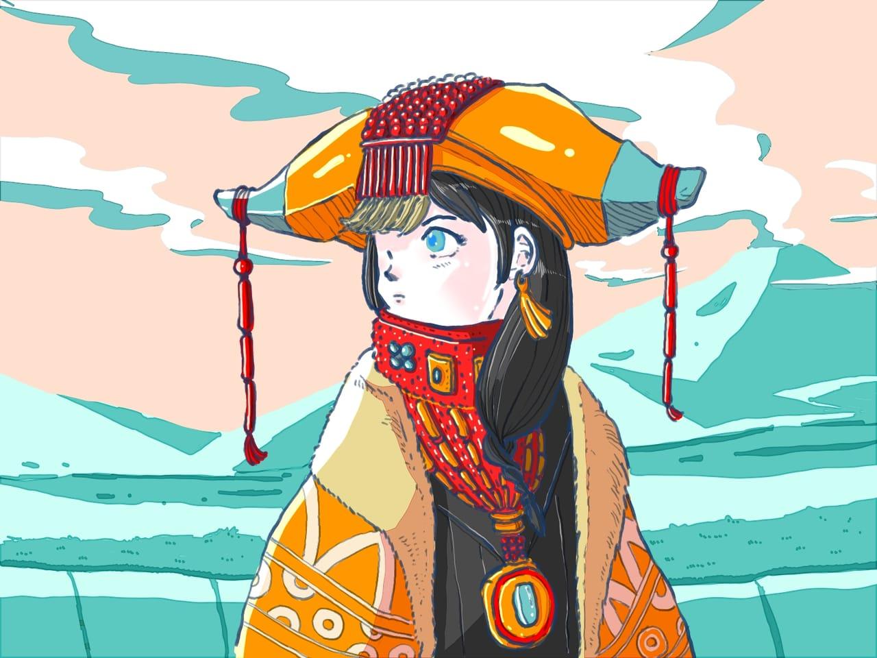 Black hair Tibetan girl  Illust of Wutikai black cute Japanese_style China cutegirl girl hill blackhair traditional