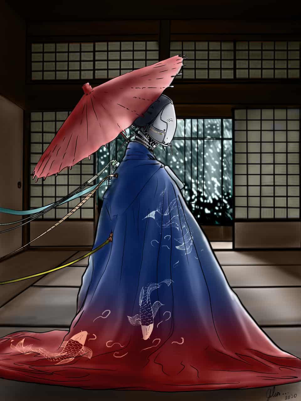 cyber robot kimono Illust of Nicki Stad Kyoto_Award2020_illustration cyberpunk kimono android robot