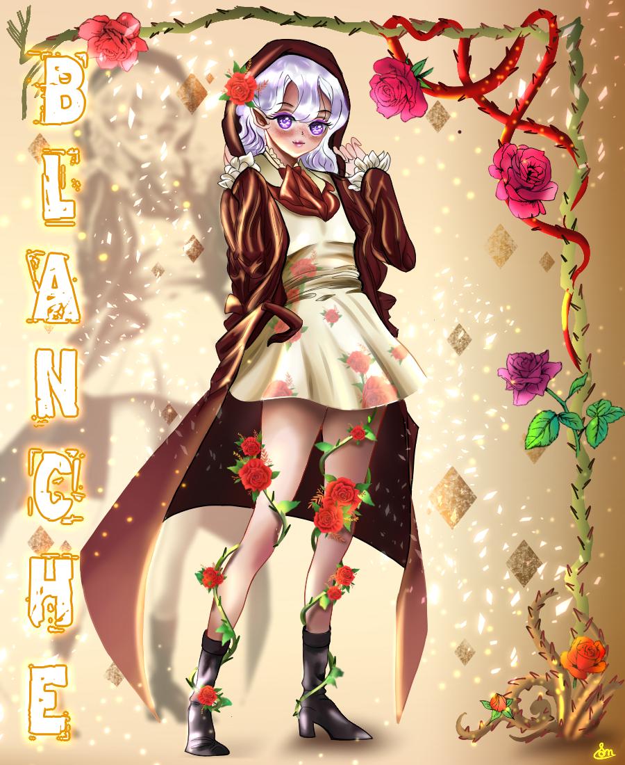 Blanche Illust of Cheesywhiskers MyIdealWaifu_MyIdealHusbandoContest MyIdealWaifu blonde girl eyes vampire rose character characterdesign angry oc iPad_raffle