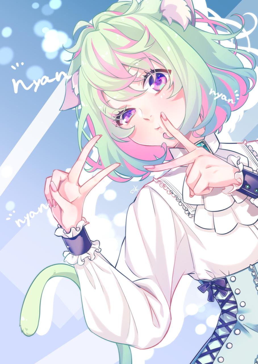 2/22 猫の日 Illust of そうすけ cat_ears Personification 猫の日 original girl animal_ears