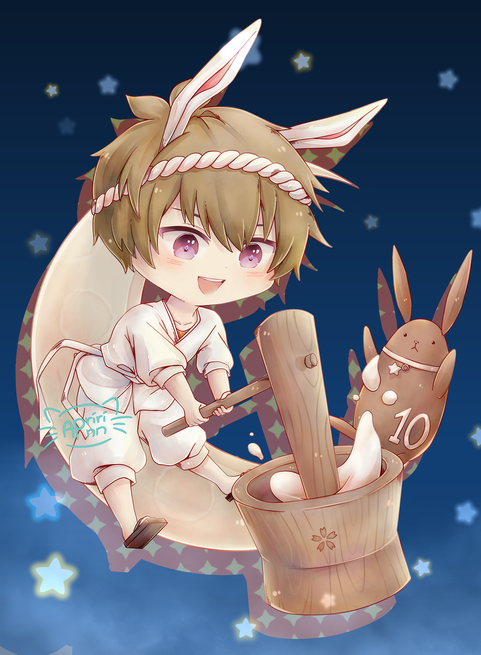 Usa-Iku! Illust of Apririnn (Onigiri) ARTstreet_Ranking medibangpaint Kannazukiiku rabbit mochi guy chibi Tsukiusa tsukipro tsukiuta