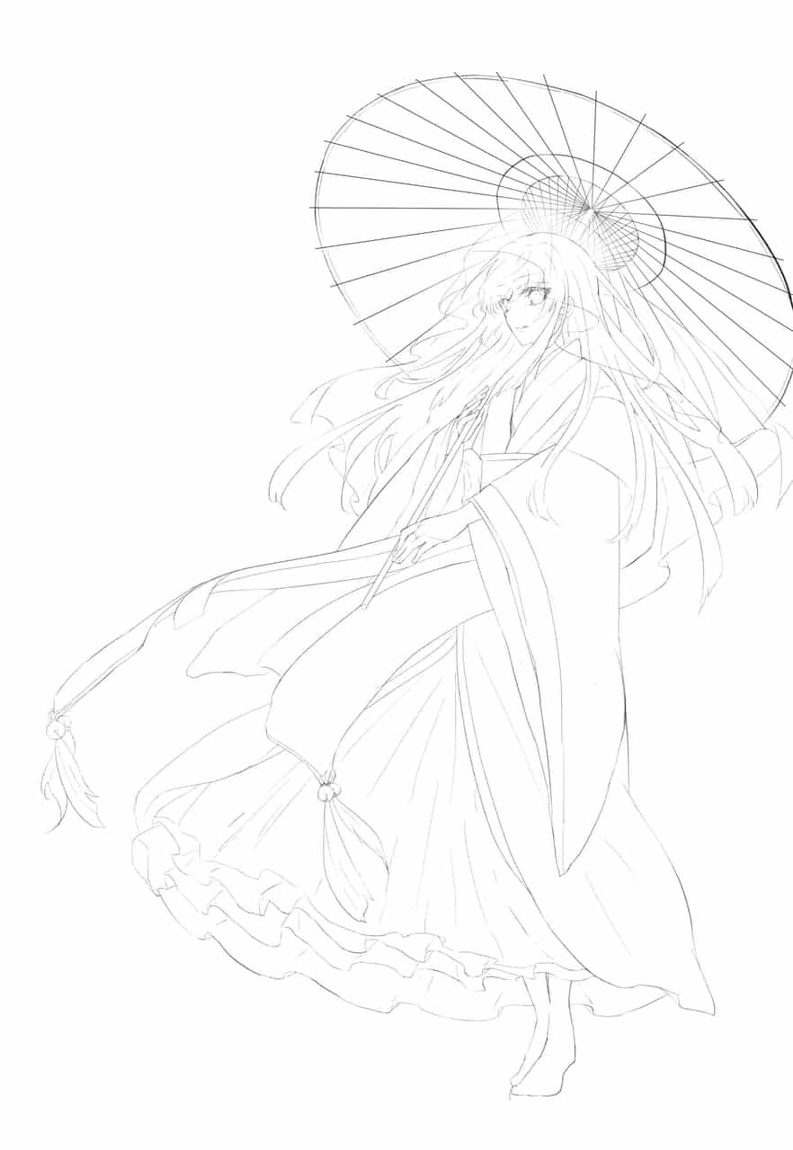 線画 Illust of 花鳥 original 和傘 和服女子 和風ファンタジー 女の子イラスト