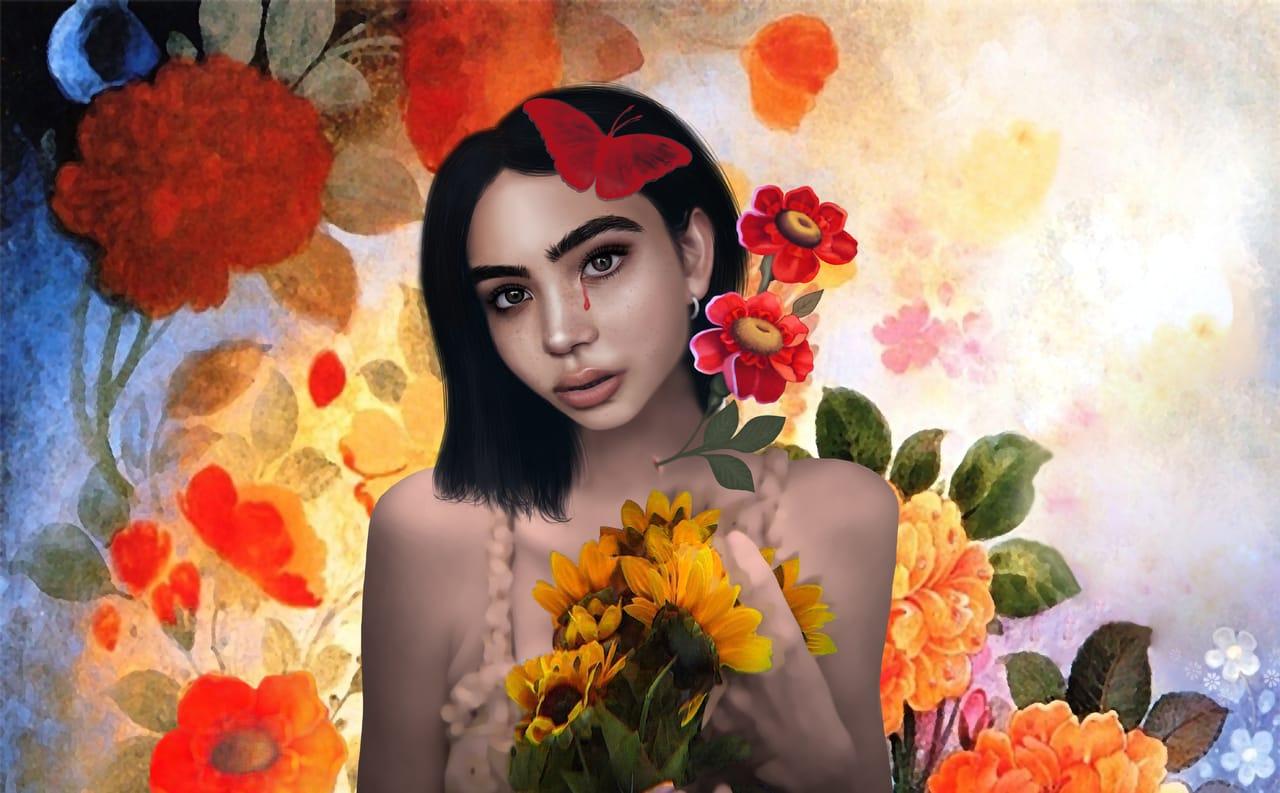 flower girl Illust of mahdieh madandar April2021_Flower illustration painting character_design Medibang medibang girl MyArt Ilustration