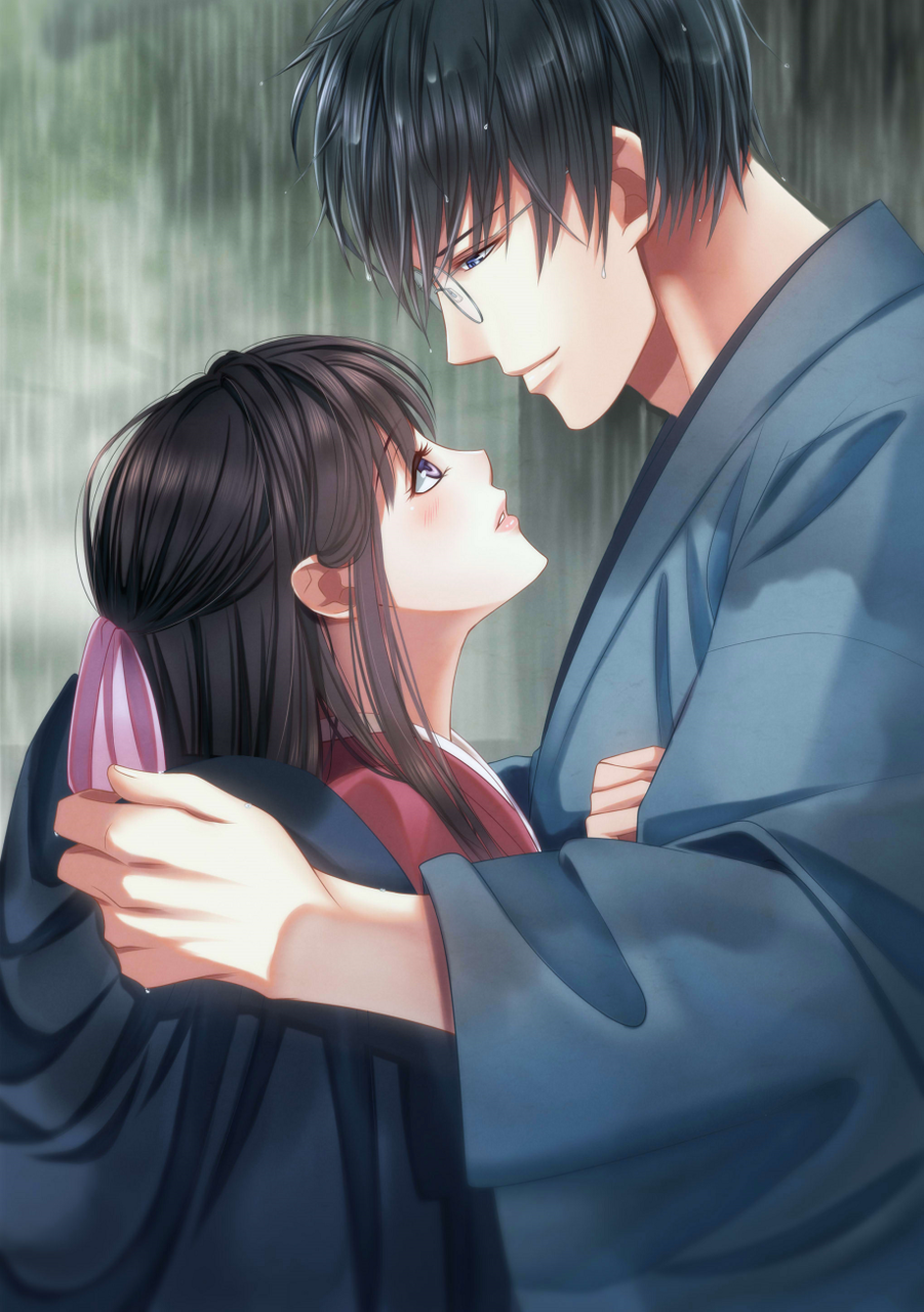 My treasure Illust of 瑠璃森 しき花(元izumi) 男女 couple Japanese_style original girl 横顔 青年 rain glasses kimono