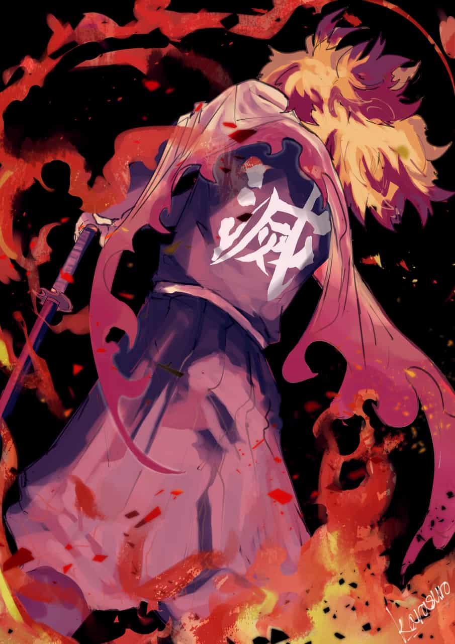 滅 Illust of カラスロ DemonSlayerFanartContest RengokuKyoujurou 炎 KimetsunoYaiba 滅