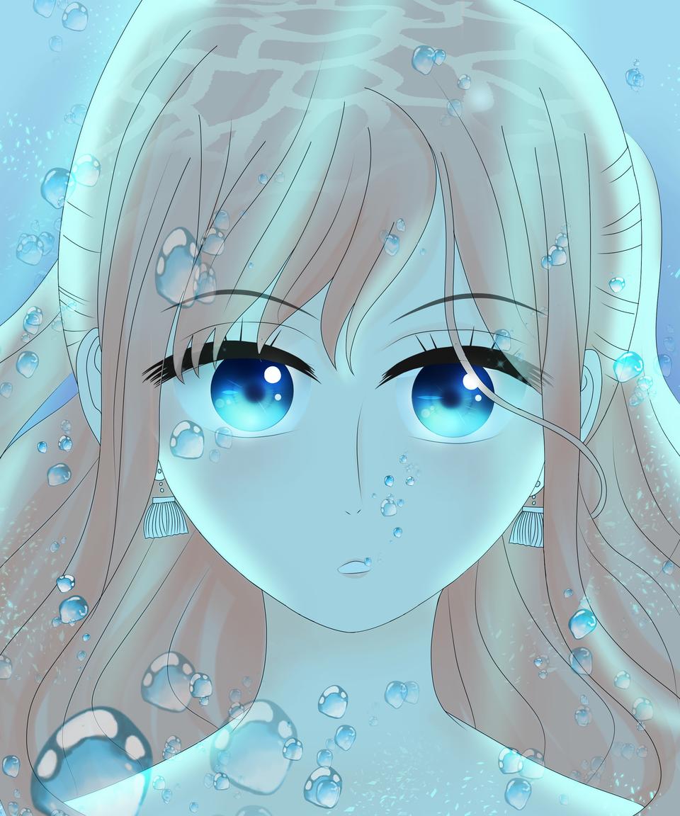 Shirahoshi - One Piece Illust of VioletHoshimi illustration Fingerpaint fanart ONEPIECE black blue friend underwater medibangpaint game