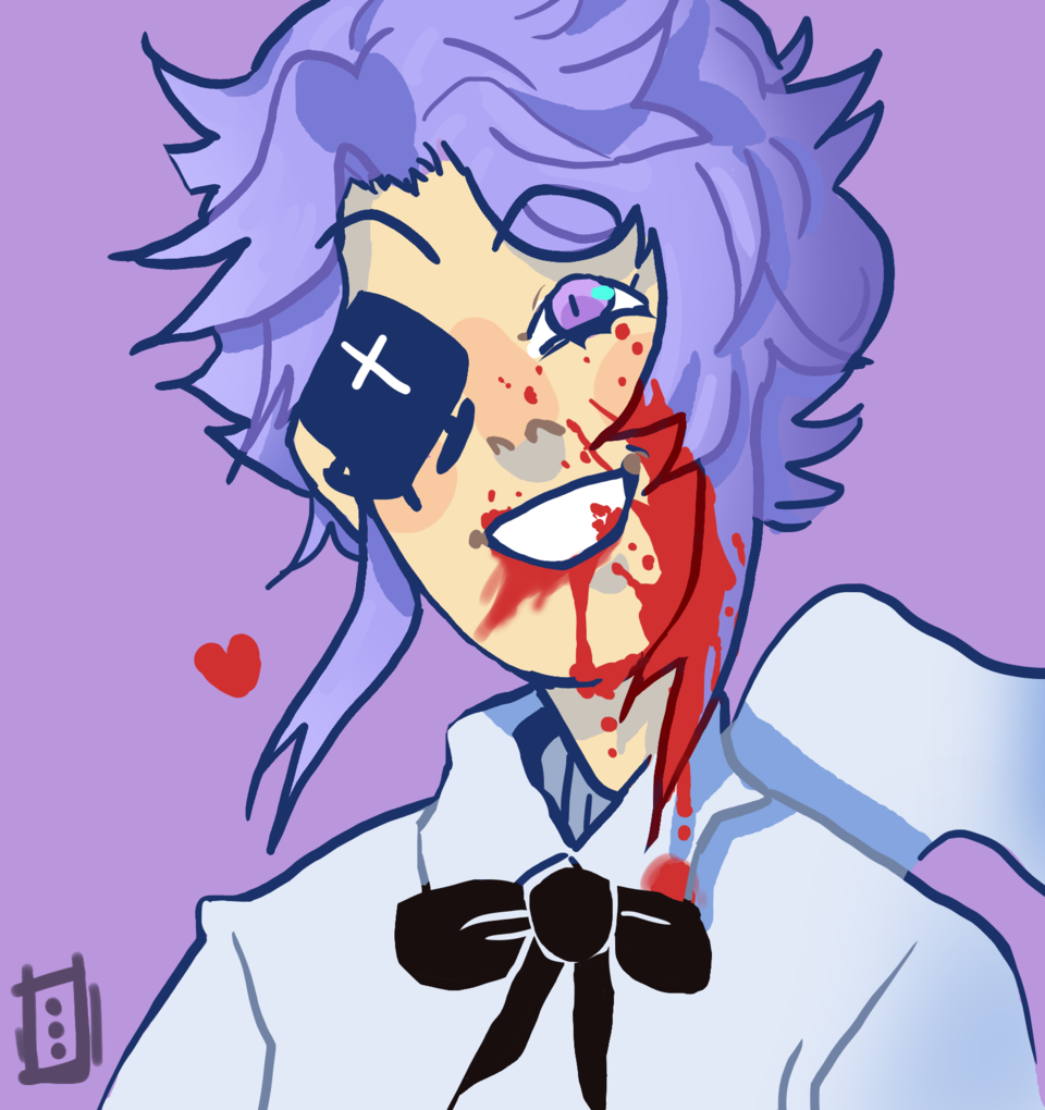 Art trade for Bee•cat- Patton mode :) Illust of *Neon_Punk* art CoolOcthough Yandere run Scary heart sketch 13 Artwork blood