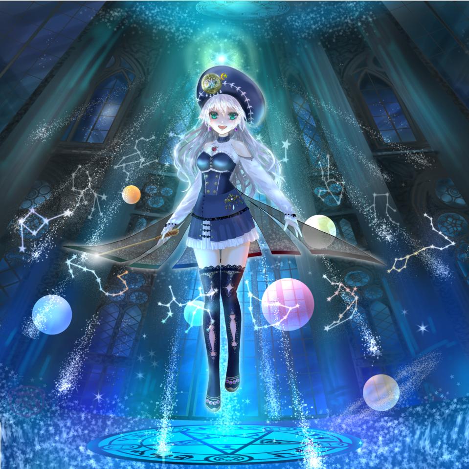 Sigil(魔術的印章) Illust of スローロリス1号 February2021_Fantasy 銀髪 惑星 十二星座 魔術師 girl 魔法円 聖堂