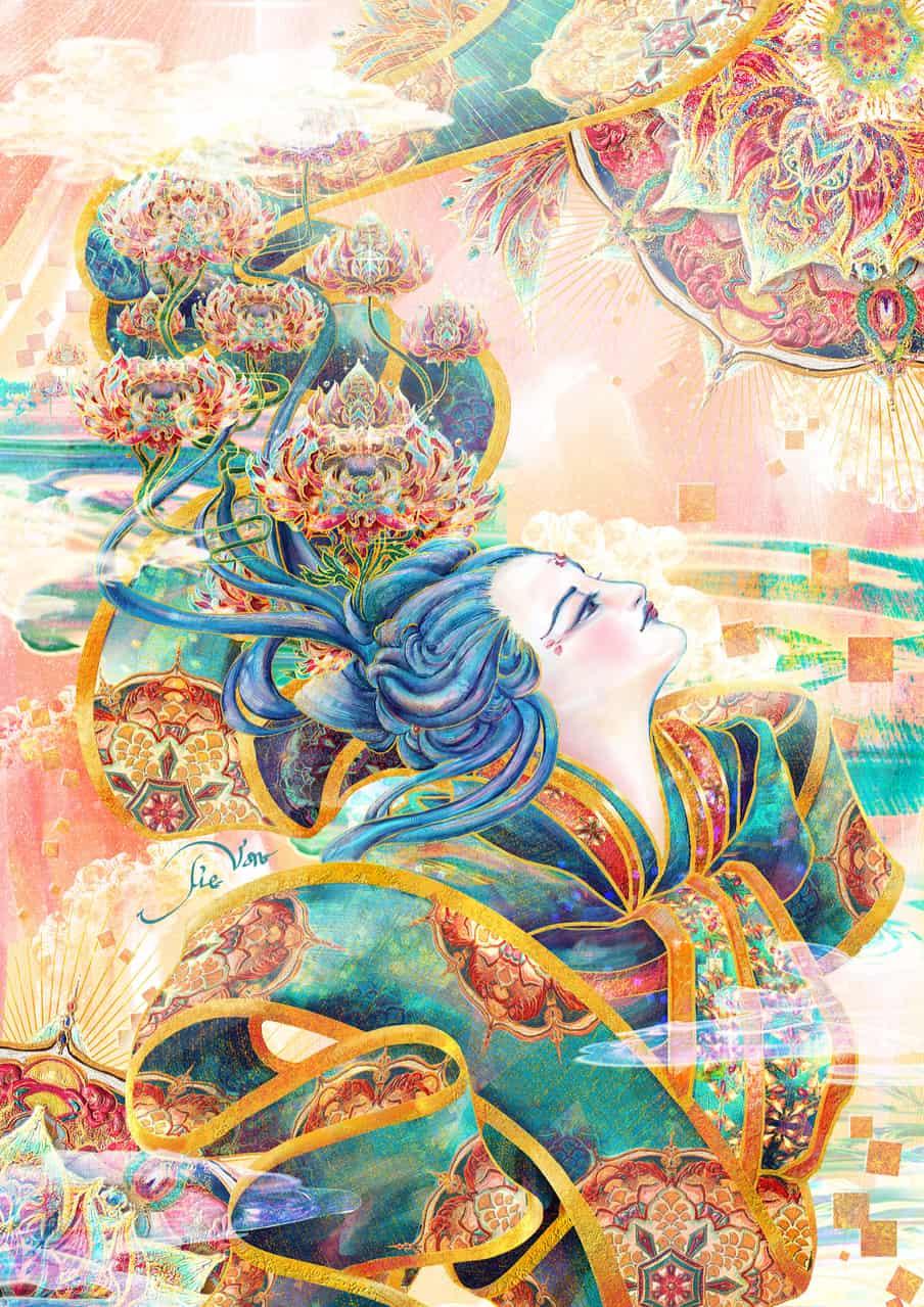 翠錦麗人 The Beauty of Bluish Brocade Illust of 羯梵 .Jie Van. Kyoto_Award2020_illustration 蓮 おび 光 obi 青髮 lotus 美人 蓮花 帯