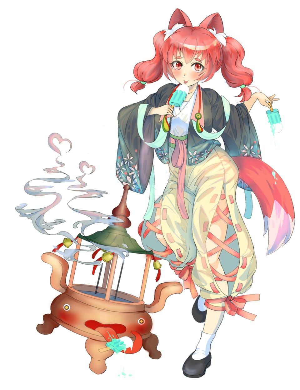 小妖狐與香爐怪 Illust of 九藏火 February2021_Fantasy anime drawing fox original illustration 仙術 畫畫 oc