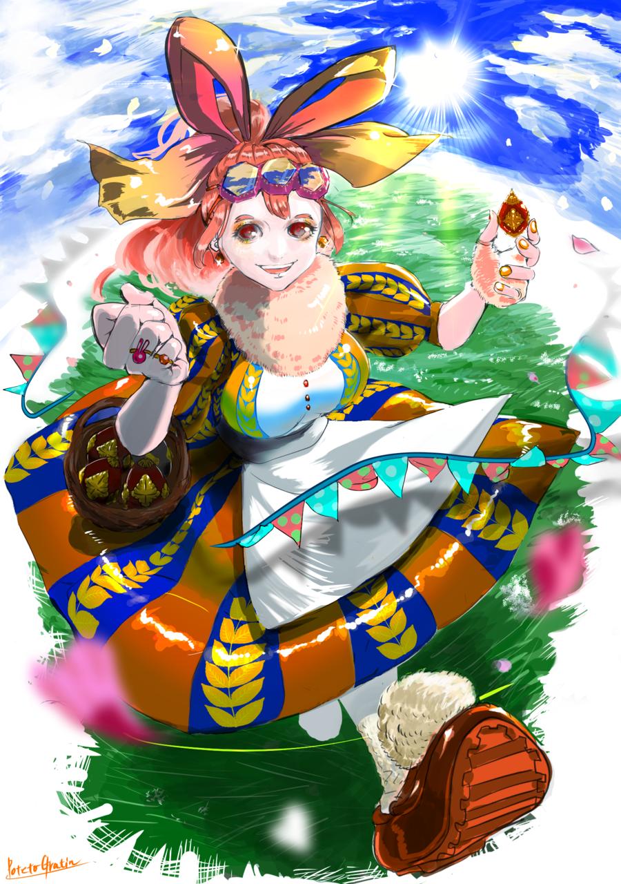 ミツバチバニーのイースター🐝 Illust of ポテトグラタン March.2020Contest:Easter impasto イースター カラー ribbon oc original rabbit Girls contest 青空