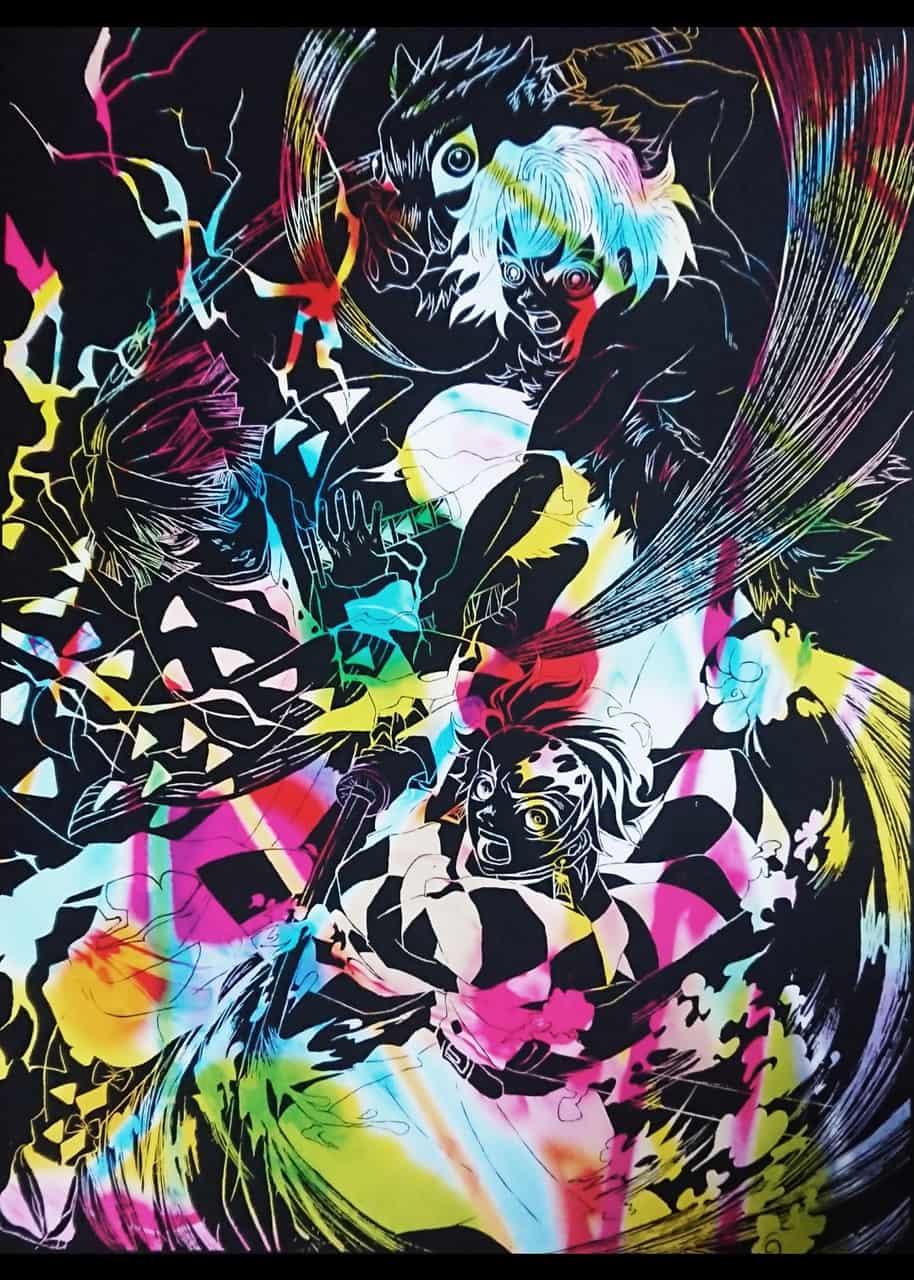 鬼滅の刃  <スクラッチアート> Illust of ASUKA DemonSlayerFanartContest KamadoTanjirou KimetsunoYaiba HashibiraInosuke AgatsumaZenitsu
