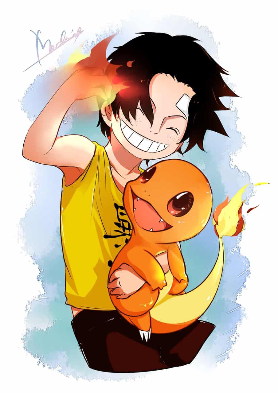 エ-スとヒトカゲ Illust of Mochicyann pokemon painting PortgasD.Ace エース ONEPIECE drawing Charmander digitalpainting