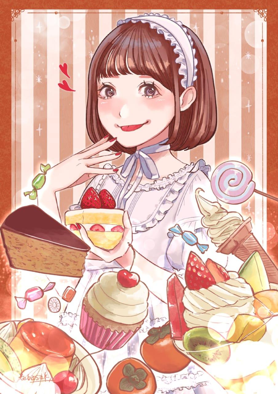 こんなにも食べきれない! Illust of てばさき October2020_Contest:Food illustration スイーツ ロリータ お菓子