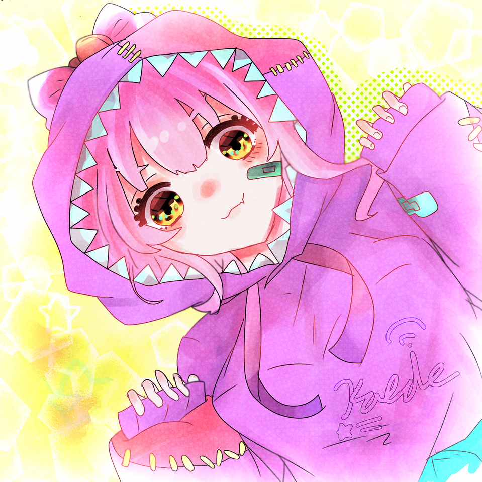 がお~! Illust of Kaede0118* Whereabouts art* March2021_Creature カラフル 怪獣 hoodie girl purple
