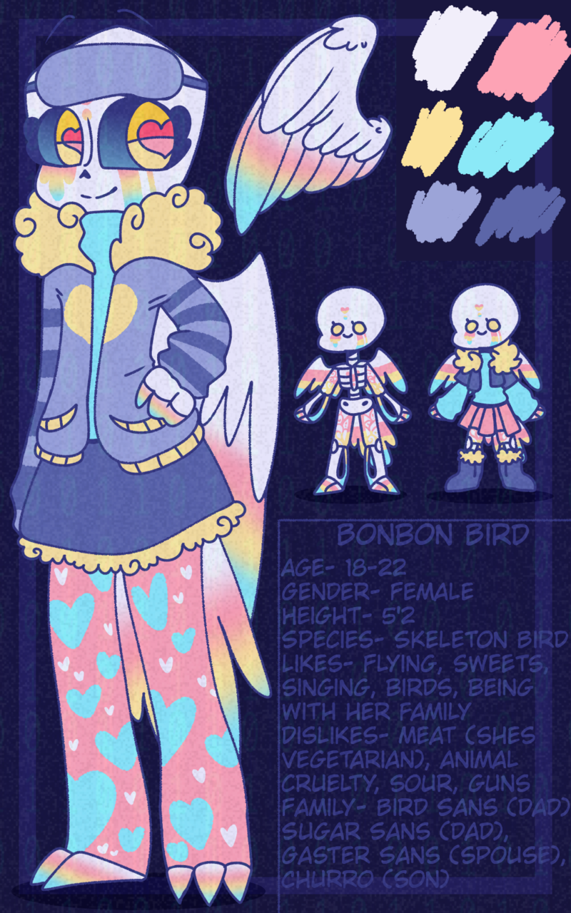 Bonbon Bird Illust of BushBabyOrigins medibangpaint referencesheet birds UndertaleAU undertale pastel cute ref redraw reference